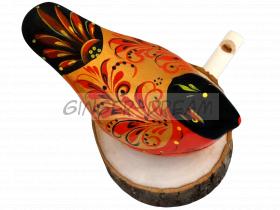 Свистулька «Соловей» Cамобытная игрушка-сувенир с росписью «Хохлома»