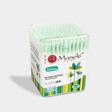 Maneki Палочки ватные гигиенические, серия Lovely, с зеленым аппликатором и бумажным стиком, в пластиковой коробке, 150 шт./упаковка