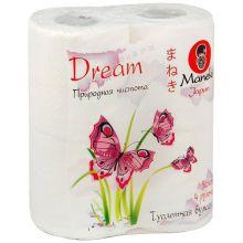 "Maneki туалетная бумага ""Dream"" 3 слоя, 167 листов, 23 метра, с тиснением, 4 рулона"