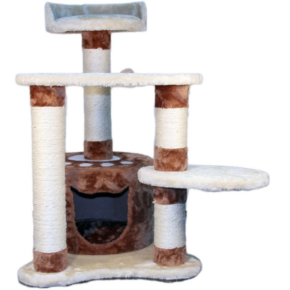 Домик когтеточка Senful, бежево-коричневый с дразнилкой