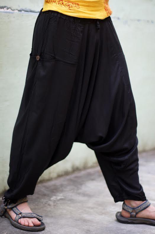 Мужские чёрные афгани с карманами (отправка из Индии)