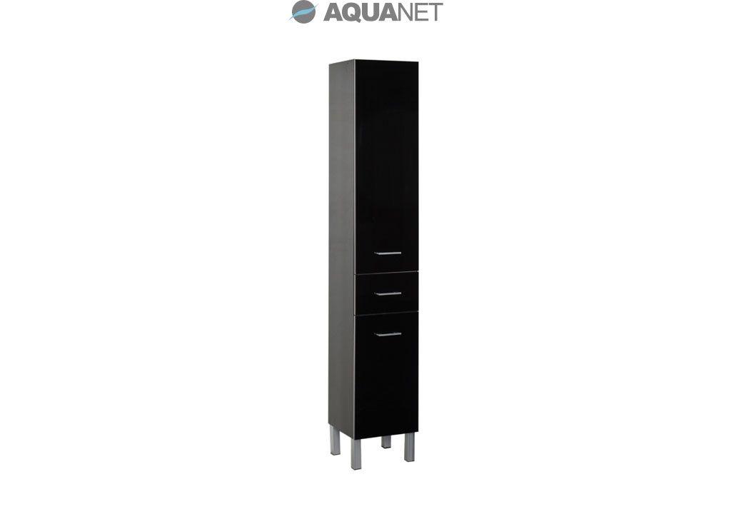 Пенал Aquanet  Верона 35 напольный, с бельевой корзиной, цвет черный (178974)
