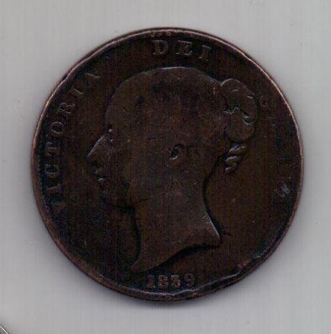 1 пенни 1839 г. Остров Мэн. Великобритания