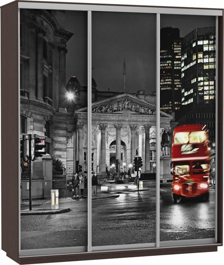Шкаф-купе Трио-трехдверный Фото (Ночной Лондон) | E1 Экспресс