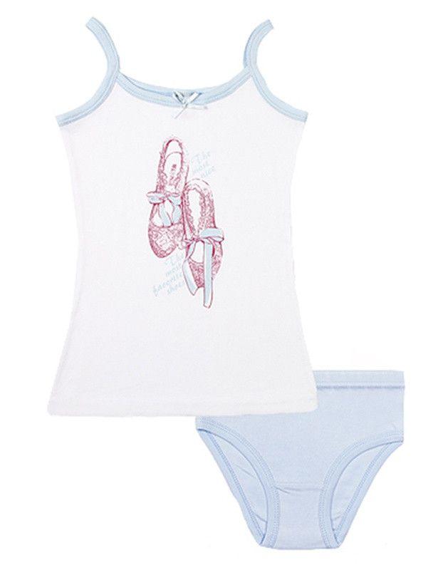 Бело-голубое белье для девочки
