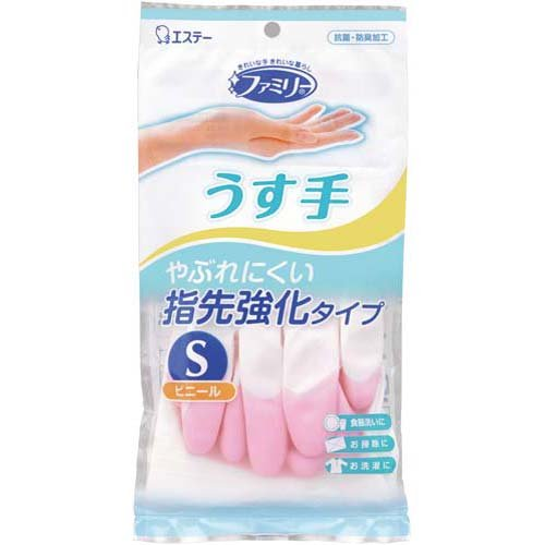 """722198 ST """"Family"""" Перчатки для бытовых и хоз. нужд из винила, тонкие, размер S (розовые)"""