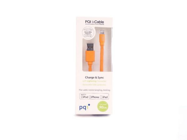 Кабель на Lightning 90см PQI плоский (made for iPhone,iPad, iPod) оранжевый