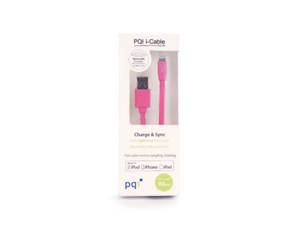 Кабель на Lightning 90см PQI плоский (made for iPhone,iPad, iPod) розовый