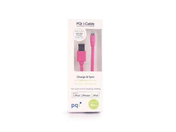 Переходник с USB на Lightning 90см PQI плоский  (made for iPhone,iPad, iPod) розовый
