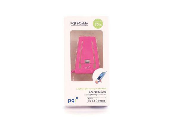Подставка для зарядки iPhone с USB на Lightning PQI (made for iPhone, iPod) розовая