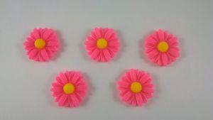 "Кабошон ""Подсолнух"", пластик, цвет - ярко-розовый,  22 мм (1уп=50шт)"