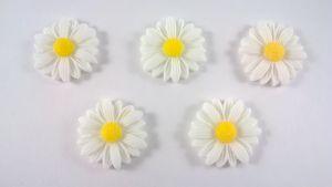 "Кабошон ""Подсолнух"", пластик, цвет - белый,  22 мм (1уп=50шт)"