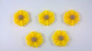 "Кабошон ""Подсолнух"", пластик, цвет - желтый,  22 мм (1уп=50шт)"