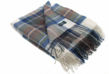Легкий шотландский плед, 100 % стопроцентная шотландская овечья шерсть, расцветка клан Стюарт Синий Вариант
