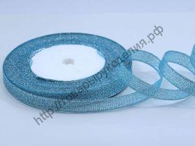 лента металлик 6мм голубая