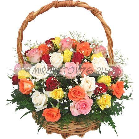 """Композиция """"45 разноцветных роз"""""""