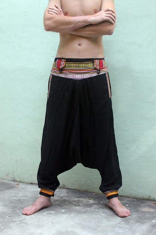 Непальские штаны афгани с карманами на поясе, унисекс