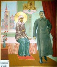 Икона Матрона Московская и Сталин (рукописная)