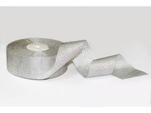 `Лента, парча, ширина 40 мм, цвет серебро