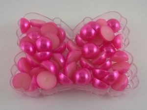 `Полубусины, пластик, 12мм, цвет: ярко-розовый, 1 уп = 10 шт