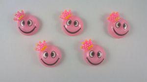 """`Кабошон """"Смайлик"""", пластик, 19 мм, цвет - розовый"""