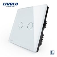 Сенсорный выключатель света LIVOLO двухкнопочный 86х86 мм