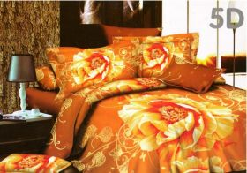 Постельное белье 3D Золотой цветок, Сатин, Евро