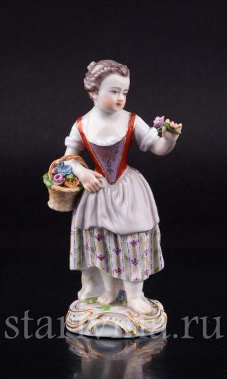 Фарфоровая статуэтка Девочка с цветком производства Meissen, Германия, 19 в.