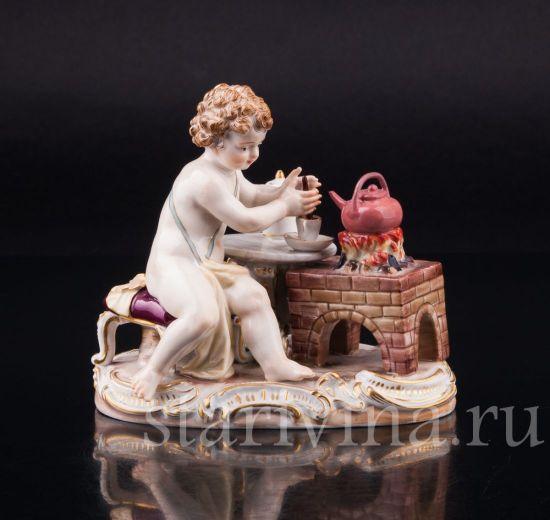 Изображение Путти с чайником, аллегория Огонь, Meissen, Германия, 19 в