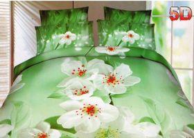 Постельное белье 3D Белая Сакура, Сатин, 2 спальное