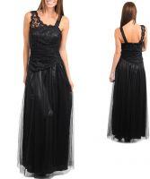 Длинное черное вечернее платье с кружевами