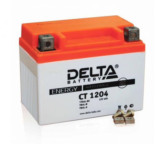 Мото аккумулятор АКБ Delta (Дельта) CT 1204 о.п. 4Ач YB4L-B, YT4L-BS
