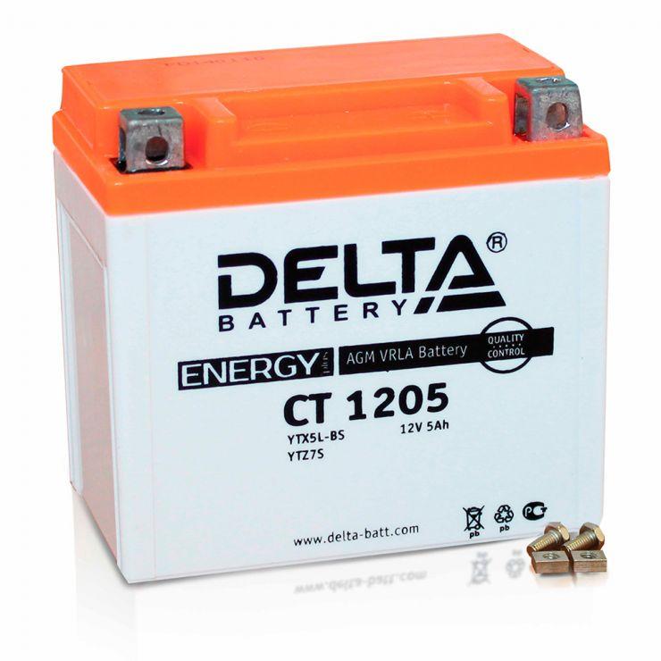 Мото аккумулятор АКБ Delta (Дельта) CT 1205 о.п. 5Ач YTX5L-BS, YTZ7S, YT5L-BS