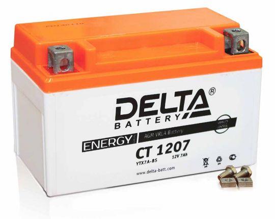 Мото аккумулятор АКБ Delta (Дельта) CT 1207 п.п. 7Ач YTX7A-BS