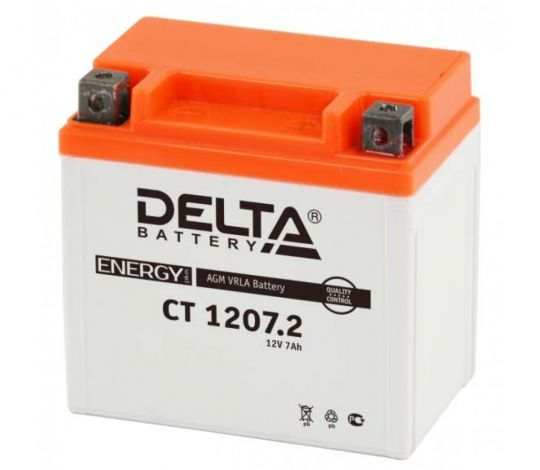 Мото аккумулятор АКБ Delta (Дельта) CT 1207.2 о.п. 7Ач YTZ7S