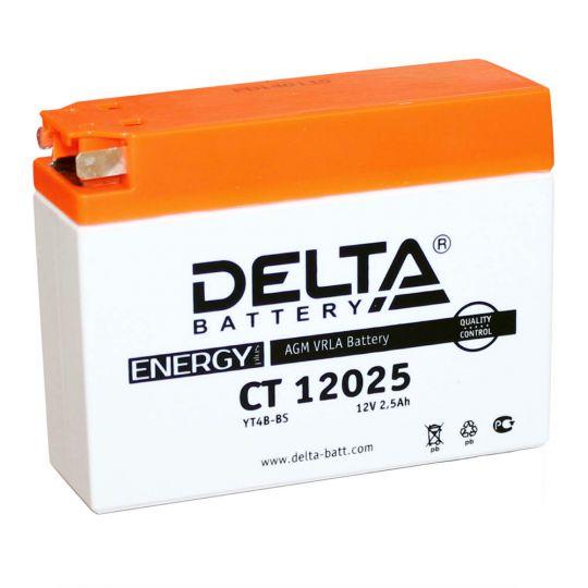 Мото аккумулятор АКБ Delta (Дельта) CT 12025 2.5Ач боковые клеммы YTX4B-BS