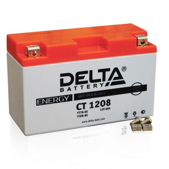 Мото аккумулятор АКБ Delta (Дельта) CT 1208 п.п. 8Ач YT7B-BS, YT9B-BS