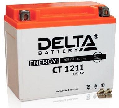 Мото аккумулятор АКБ Delta (Дельта) CT 1211 п.п. 11Ач YTZ12S, YTZ14S