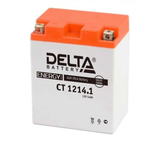 Мото аккумулятор АКБ Delta (Дельта) CT 1214.1 п.п. 14Ач YB14-BS, YTX14H, YTX14H-BS