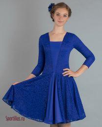 Платье для спортивных бальных танцев, синее