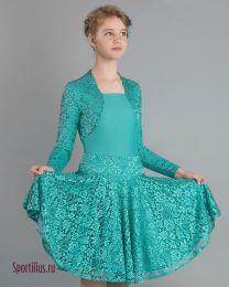 Платье для танцев с гипюром, бирюзовое