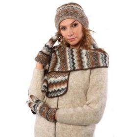 Комплект шапка, шарф, варежки вязаный из Исландской шерсти 08114-47