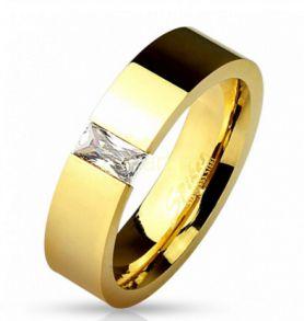 Позолоченное кольцо Spikes с багетным искусственным бриллиантом (арт. 280118)