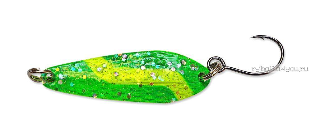 Купить Блесна Kosadaka Micron (одинарный крючок) 33 мм / 3 гр цвет GO