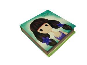 Блокнот зеленый Девочка (8*8см)