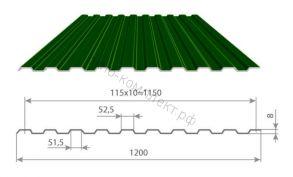 Профнастил С-8 (0,45мм) 1,2*3м Полиэстр