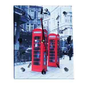 """Часы """"Две красные телефонные будки"""" (20*25 см.)"""