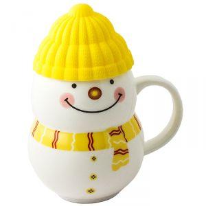 Кружка  Снеговик  желтый
