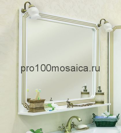 Зеркало для ванной Коллекция Каир 120 см ,белое (SANFLOR)