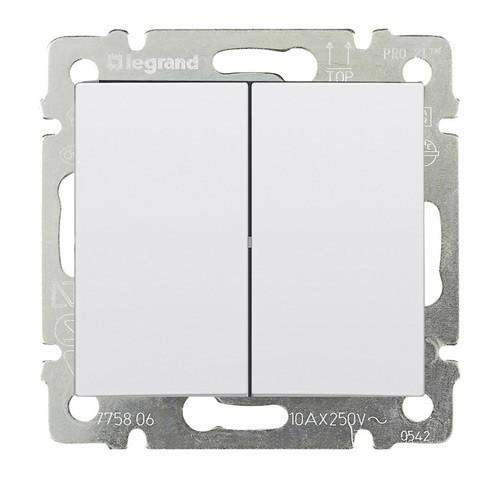 Выключатель двухклавишный  10А Legrand Valena белый 774405